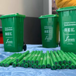 Simply Waste Solutions newsletter image with wheelie bin and pencil merchandise