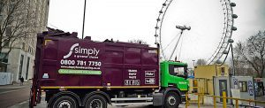 Simply Waste Solutions truck next to London Eye