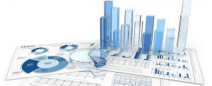 Blue infographics documents with 3D graphs and charts of glass.