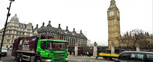 Simply Waste Solutions truck in London by Big Ben