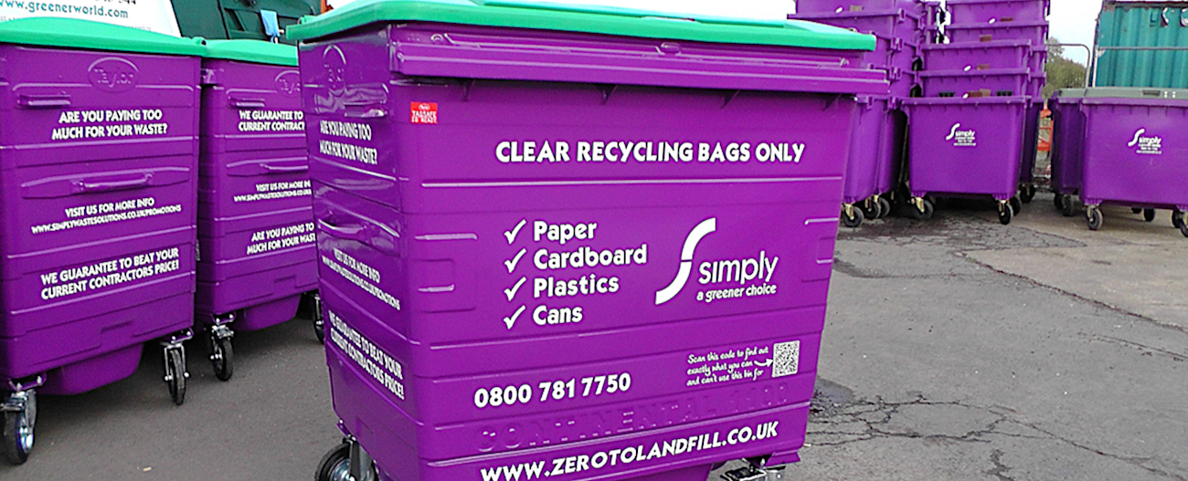 Simply Waste Solutions purple 1100 litre wheelie bin