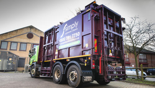 Top Loader truck used for food and glass waste recycling collected by Simply Waste Solutions