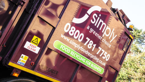 Simply Waste Solutions branding on Top Loader truck which collects food and glass waste recycling