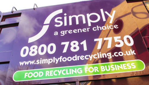 Branding on a Simply Waste Solutions food and glass Top Loader truck