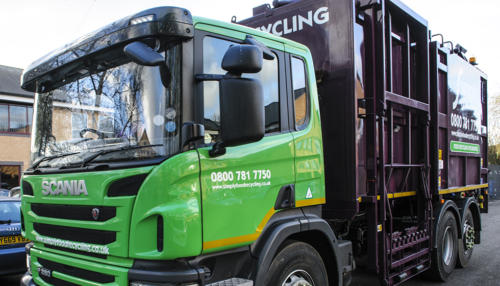 Top Loader truck collecting food and glass waste