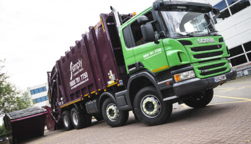 Rear End Loader (REL) collecting business waste