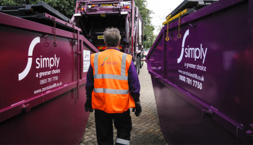 Simply Waste Solutions employee collecting REL waste