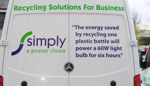 Branding on the back of a Simply Waste Solutions van