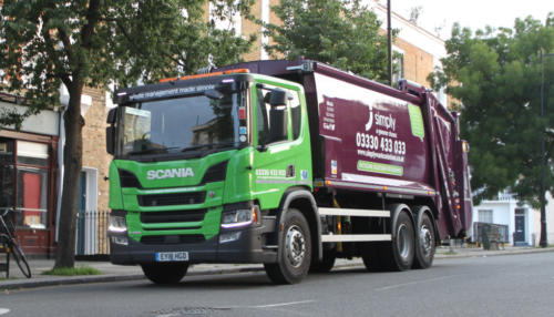 Simply Waste Solutions truck collecting business waste in London