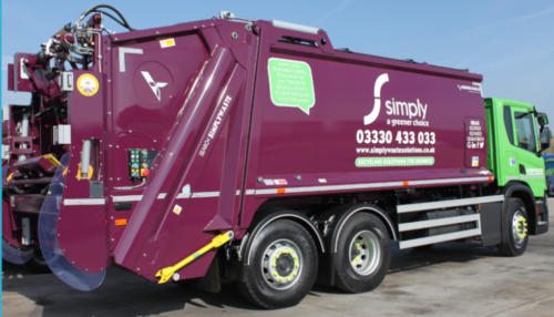 Simply Waste Solutions trade waste truck based at the Stanwell depot