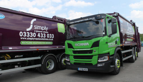 Trade waste trucks based at the Simply Waste Solutions depot in Stanwell