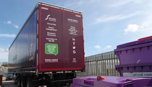 Simply Waste Solutions artic truck with signage at the back